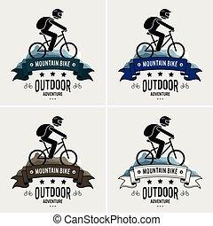logotipo, montanha andando bicicleta, design.