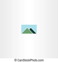 logotipo, montanha, céu, sinal