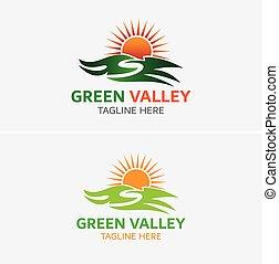 logotipo, montanha, modelo, sol