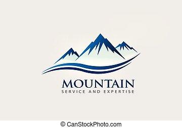 logotipo, montanha, onda, picos, dobro