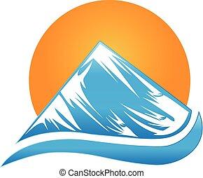 logotipo, montanha, sol