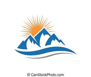 logotipo, montanhas, ícone
