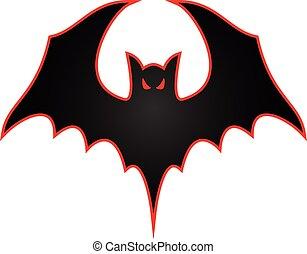 logotipo, morcego, espalhar, asas, ilustração