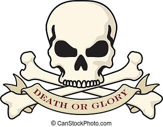 logotipo, muerte, o, gloria, cráneo