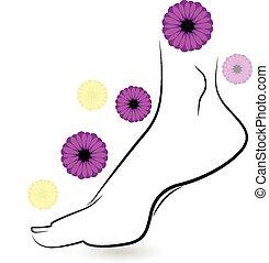 logotipo, mujer, descalzo