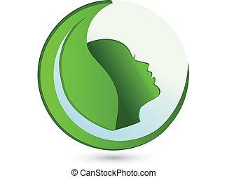 logotipo, mulher, folha, beleza