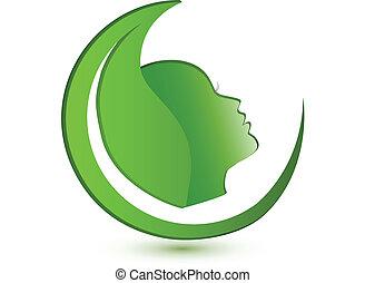 logotipo, mulher, folha, rosto