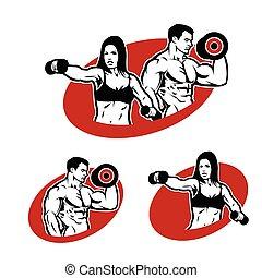 logotipo, mulher, homem, condicão física