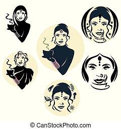logotipo, mulher, indianas