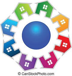 logotipo, mundo, casas