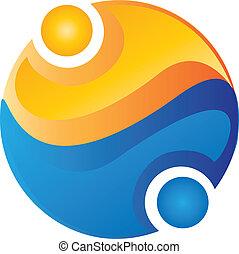 logotipo, mundo, equipe, ao redor, pessoas