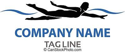 logotipo, nadador
