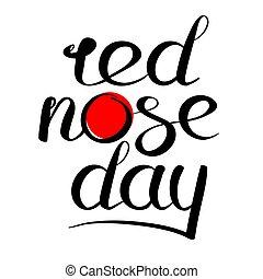 logotipo, nariz, vermelho, dia