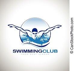 logotipo, natação