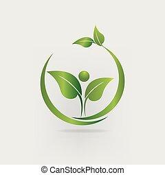 logotipo, natura, salute, mette foglie, marcare caldo