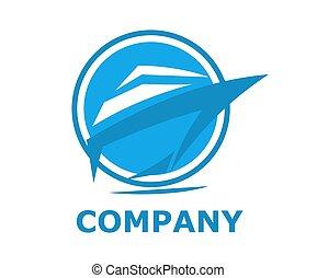 logotipo, nave, linea, 3