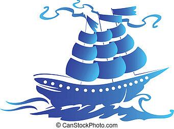 logotipo, nave, vela