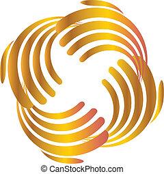 logotipo, negócio, ouro, mãos