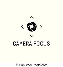 logotipo, nero, macchina fotografica, disegno, fuoco