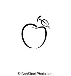 logotipo, nero, mela