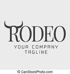 logotipo, norteamericano, vector, rodeo