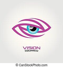 logotipo, olho, visão
