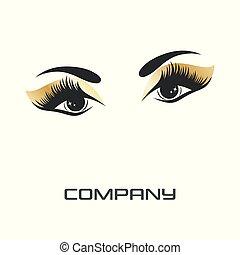 logotipo, olhos, supercílios