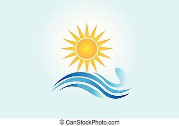 logotipo, ondas, praia, ilustração, sol