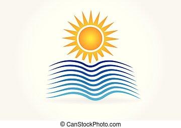 logotipo, ondas, sol