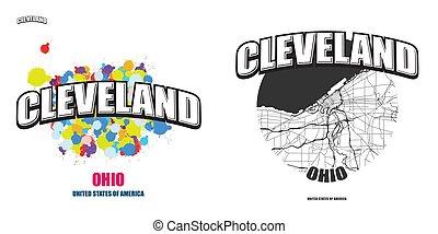 logotipo, opere, cleveland, due, ohio