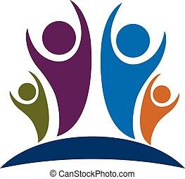 logotipo, optimista, família, pessoas