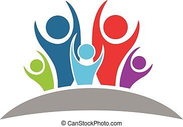 logotipo, optimista, familia , gente