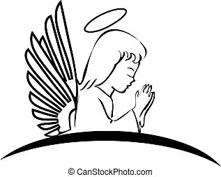logotipo, orando, anjo, criativo