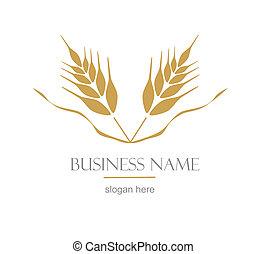 logotipo, orelha, wheat.