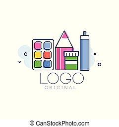 logotipo, originale, creativo, concetto, sagoma, infanzia, disegnare elemento, mano, disegnato, vettore, illustrazione, isolato, su, uno, sfondo bianco