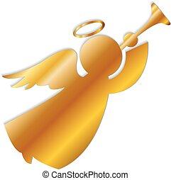 logotipo, oro, ángel