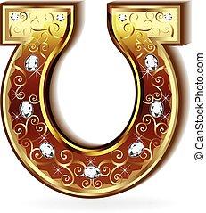 logotipo, ouro, ferradura
