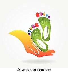 logotipo, pés, cuidado