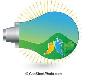 logotipo, paisaje, energía renovable