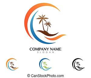 logotipo, palma, estate