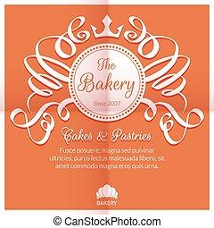 logotipo, panetteria, retro, scheda, etichetta