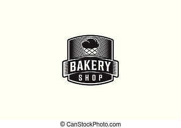 logotipo, panificadora, cupcake, etiqueta, vindima