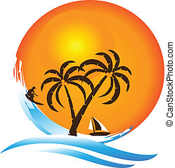 logotipo, paraíso tropical, isla