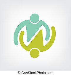 logotipo, pareja, abrazo, trabajo en equipo