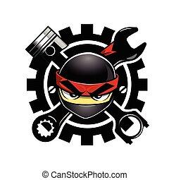logotipo, partes, automóvil, ninja