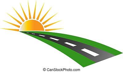 logotipo, pavimento, vetorial, pôr do sol, estrada