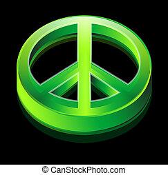 logotipo, paz, verde