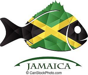 logotipo, peixe, feito, jamaica., bandeira
