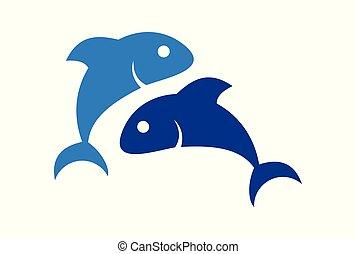 logotipo, peixe, vetorial, dois, ícone