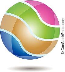 logotipo, pelota, brillante